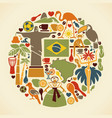 brazilian icons in form a circle vector image vector image