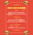 burger restaurant menu ready for print vector image
