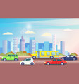busy traffic road with colorful cars cityscape vector image vector image