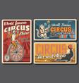 circus tent acrobat and monkey juggler vector image vector image