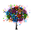 colorful tree with stars vector image vector image