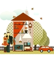 couple in village house vector image vector image