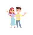 couple of young people man and woman hold hands o vector image vector image