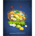 Easter background with eggs and nest vector image vector image