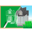 green blackboard with architectural project vector image vector image