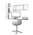 Hand drawn workplace Chair and computer vector image vector image