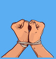 hands tied with rope isolated colorful sketch on vector image