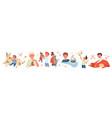 happy children love pets set vector image vector image