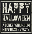happy halloween decorative alphabet grunge stamp vector image vector image