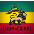 Judah lion with a rastafari flag King of Zion vector image vector image