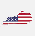kentucky map on american flag vector image