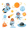 kids space elements collection astronaut children vector image