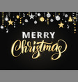 merry christmas hand written lettering gold and vector image