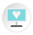 Monitor with diamond icon flat style vector image vector image