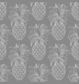 pineapples contour pattern on a gray background vector image