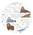 polar animals circle animal set polar vector image
