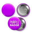 purple badge mockup pin brooch purple vector image