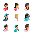 quality isometry 3d avatar active girl vector image vector image