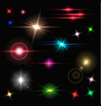 realistic colorful bright lens flares beams and vector image vector image
