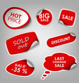 Red collection stickers sale discount template vector image vector image
