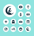 religion icons set with man with moon lantern vector image