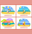 santa claus warm holidays in july on beach vector image vector image