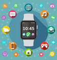 smart watch with icons flat design concept vector image vector image