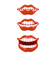 Smile lips set Content mouth collection Cheerful vector image vector image