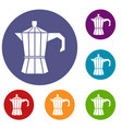 steel retro coffee pot icons set vector image vector image