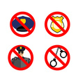 Stop cop set icon It is forbidden by police vector image vector image