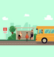 teacher and pupils characters wait school bus at vector image