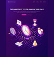 time management tips isometric landing page banner vector image