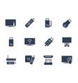tv stick and box icon set vector image