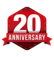 Twenty year anniversary badge with red ribbon vector image