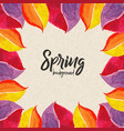 watercolor spring leaves background vector image vector image