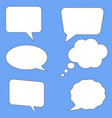 white speech bubbles on blue background flst vector image vector image