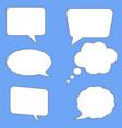 white speech bubbles on blue background flst vector image