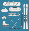 winter sports and activities equipment vector image