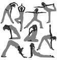woman yoga exercise poses healthy a set woman vector image