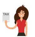 women with tax form vector image