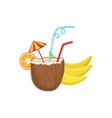 Cocktail In Coconut Hawaiian Vacation Classic vector image