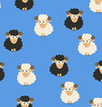 Seamless Pattern with White and Black Sheep vector image