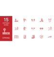 15 strong icons vector image vector image