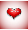 button of red heart with text LOVE YOU vector image