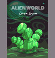 cartoon fantasy green plant alien planet nature vector image vector image