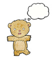 cartoon shocked teddy bear with thought bubble vector image vector image