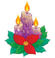 christmas candle with flower vector image