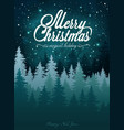 christmas card with a magic night sky forest and vector image
