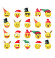 christmas funny emoji cute holiday emotion yellow vector image