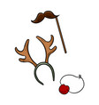 christmas party items moustache reindeer horns vector image